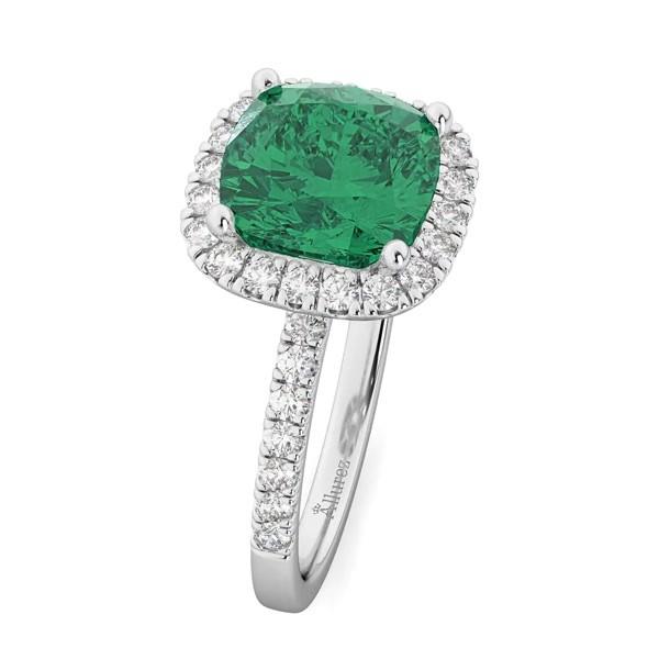 Cushion Cut Halo Emerald Diamond Engagement Ring 14k White Gold 3 11ct