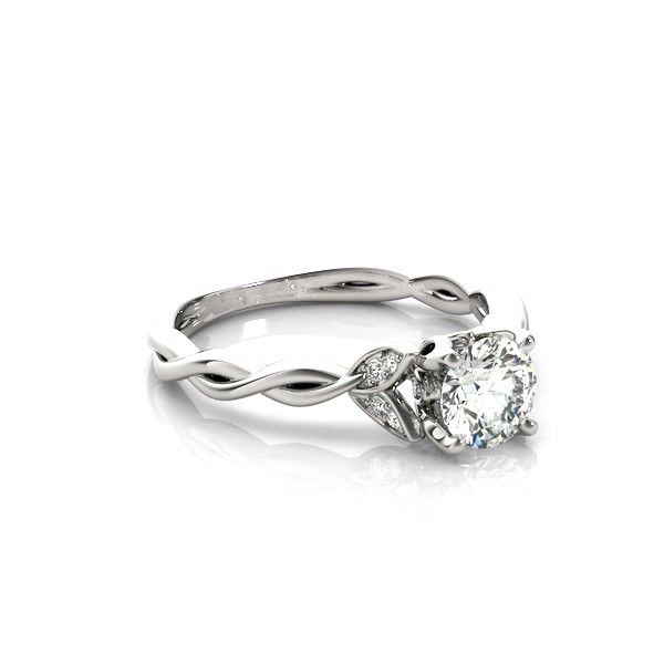 ab3a8eb25 Infinity Leaf Engagement Ring 14k White Gold (0.07ct) - NG11848