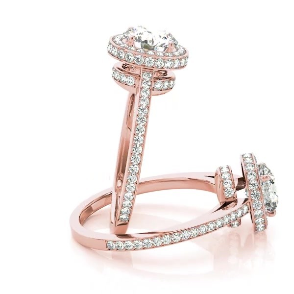 2e5224ef5d17e Two-Tier   Halo Round Cut Engagement Ring 14k Rose Gold 1.50ct - NG380