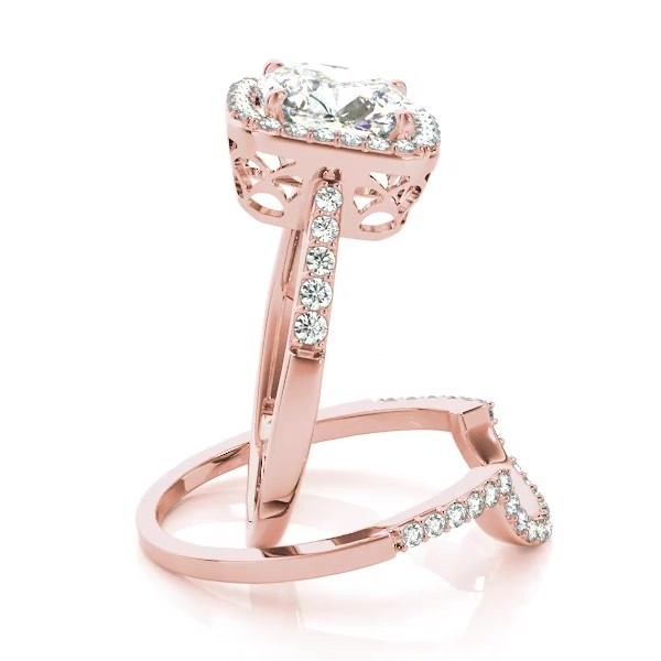 Cushion Cut Diamond Halo Engagement Ring 18k Rose Gold 2 00ct