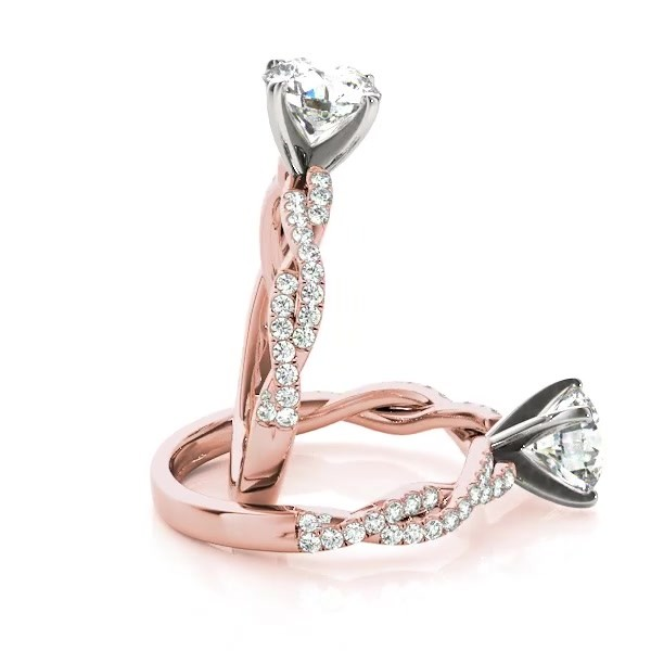cc4c70a7f Diamond Twist Sidestone Accented Engagement Ring 14k Rose Gold 1.69ct -  NG5115