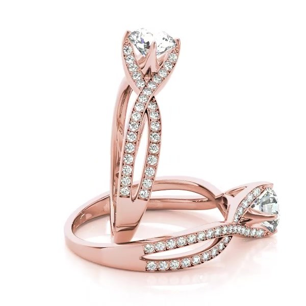 5e68c0033 Diamond Bypass Twisted Engagement Ring 14k Rose Gold (0.68ct) - NG5171