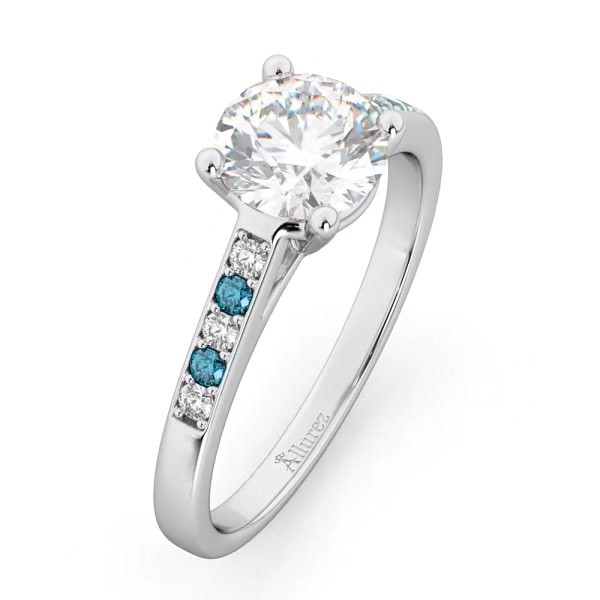84aded1b7 Cathedral Pave Blue Diamond Engagement Ring 14k White Gold (0.20ct). 9%.  Interactive Video – Drag To Rotate