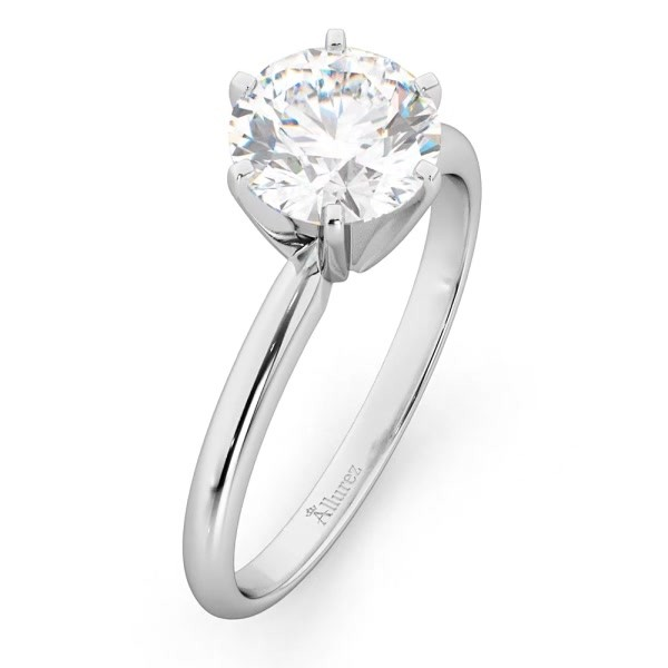 a00c7196616b8 Six-Prong 14k White Gold Solitaire Engagement Ring Setting - UR170