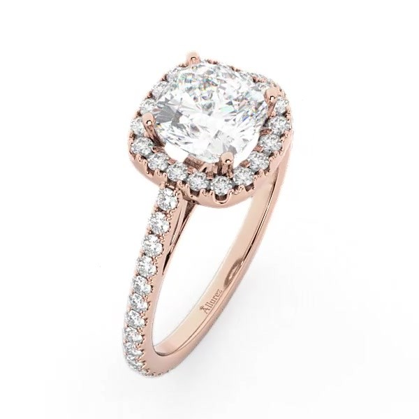 Cathedral Halo Cushion Cut Diamond Engagement Ring 18k Rose Gold 0 60ct