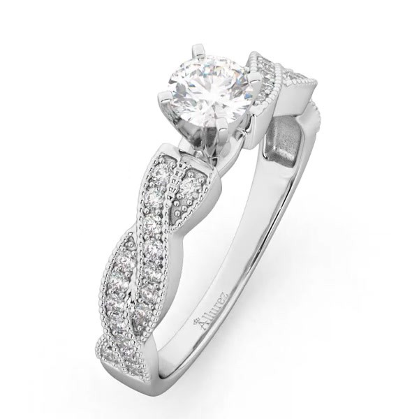0b0de31e838349 Infinity Twisted Diamond Engagement Ring 14k White Gold (0.25ct). 9%.  Interactive Video – Drag To Rotate