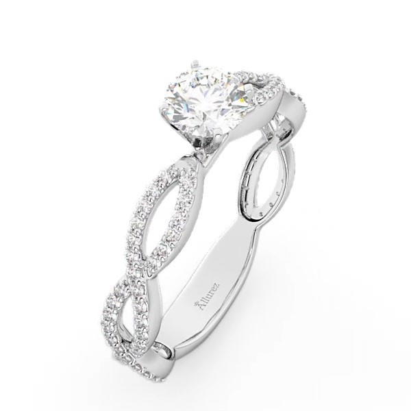 baebbe097086c2 Pave Diamond Infinity Eternity Engagement Ring 14k White Gold 0.40ct - U2827