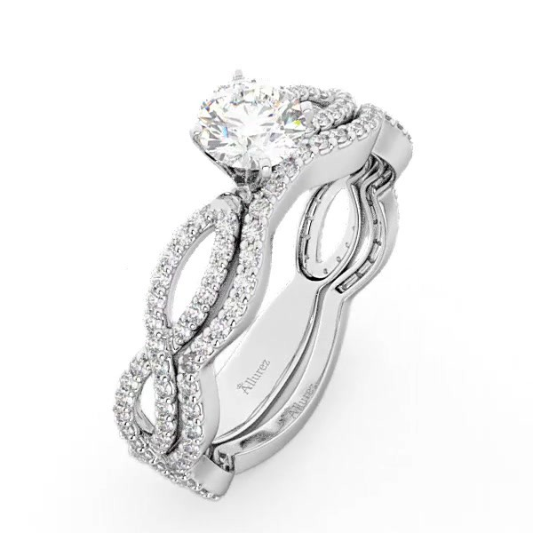 0fae43b37 Infinity Diamond Engagement Ring with Band 14k White Gold 0.65ct - U2843