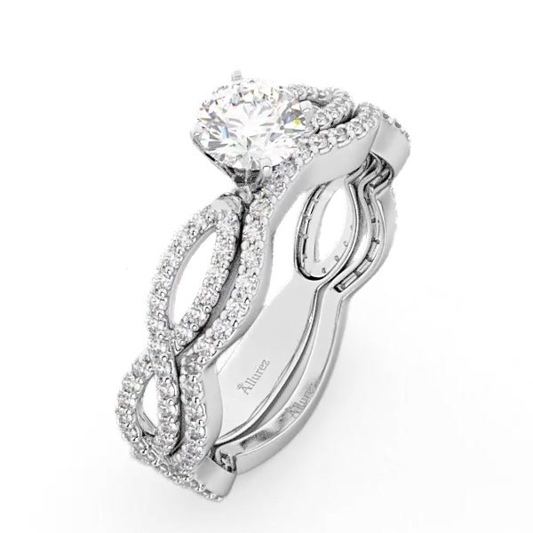 78cfbb46b14cf6 Infinity Diamond Engagement Ring with Band 14k White Gold 0.65ct - U2843