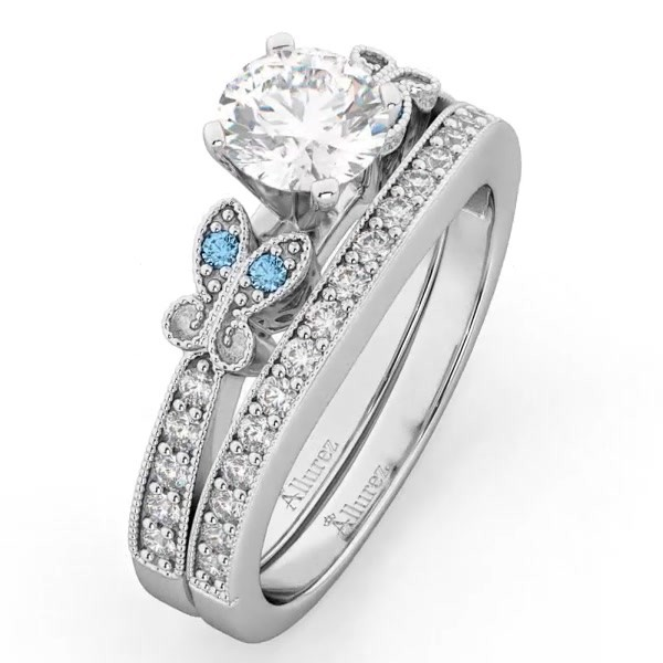 bd7fbcf98 Butterfly Diamond & Blue Topaz Bridal Set 14k White Gold 0.42ct - U2531