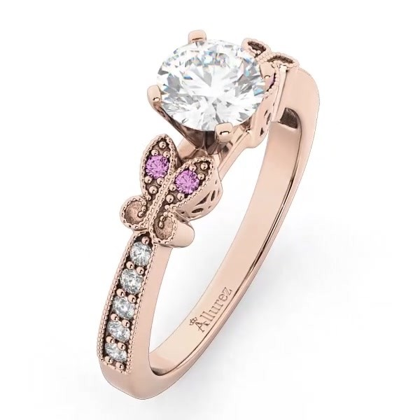 d7ce2136a8d8d Butterfly Diamond & Pink Sapphire Engagement Ring 14k Rose Gold (0.20ct)